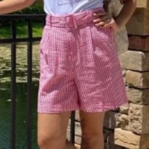 A NEW DAY STRIPED BELTED HIGH RISE SHORTS